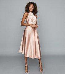 reiss rita - halterneck satin midi dress in pink, womens, size 14
