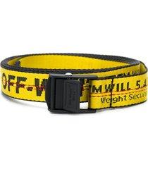 off-white industrial logo print belt - yellow