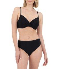 nine west women's wrap bikini top - black - size xxl