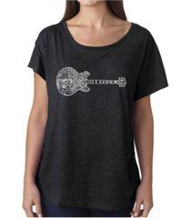 la pop art women's dolman cut word art shirt - blues legends