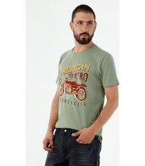 camiseta de hombre, cuello redondo, manga corta, con estampado retro de moto