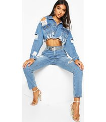 lang distressed mom jeans, middenblauw