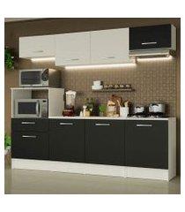 cozinha completa madesa onix 240002 com armario e balcão branco/preto 0977 branco/preto/branco