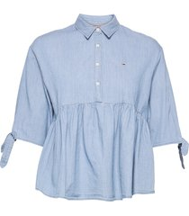 tjw chambray bow sleeve blouse blouse lange mouwen blauw tommy jeans