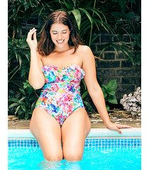 sophia underwire floral bandeau frill shaping one-piece swimsuit
