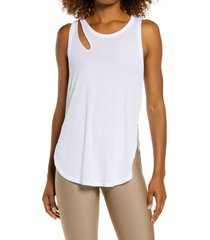 alo peak cutout tank, size x-small in white at nordstrom
