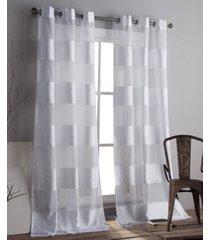 "capricia 37"" x 84"" striped sheer curtain set"