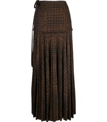 proenza schouler pleated animal-print skirt - brown