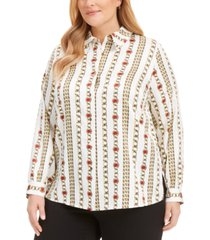 kasper plus size chain-link satin button-up shirt