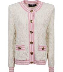 balmain shoulder knit cardigan