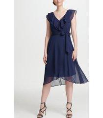 dkny ruffle v-neck chiffon dress