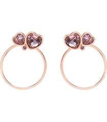 orecchini a cerchio in metallo rosato e pietre con cuori per donna