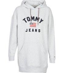 korte jurk tommy jeans tjw logo hoodie dress
