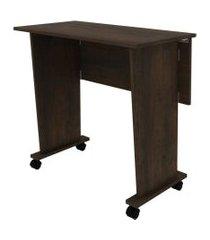mesa dobrável com rodízio para escritório me4117 rústico tecno mobili