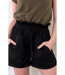 suedine short met zakken zwart