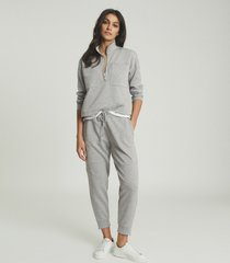 reiss etta - zip neck loungewear sweatshirt in grey marl, womens, size l