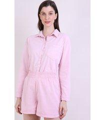 camisa feminina mindset pijama com bolso manga longa rosa claro