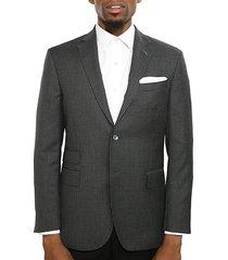 slim-fit checked wool jacket