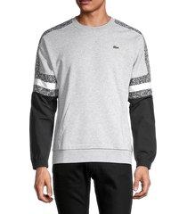 lacoste men's colorblock cotton-blend sweatshirt - grey - size 4 (m)