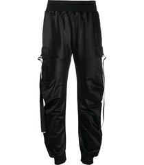 just cavalli draped strap trousers - black