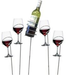 mind reader metal 5 piece wine bottle and glass holder sticks set