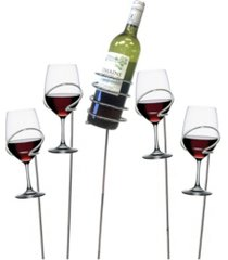 mind reader metal 5 piece wine bottle and glass holder sticks set