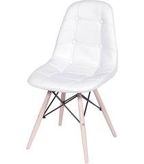 cadeira dkr botone com base de madeira nórcia - branca
