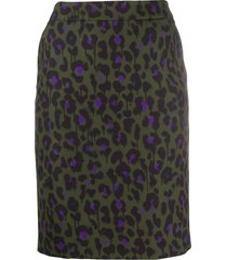 boutique moschino leopard-print short skirt - green