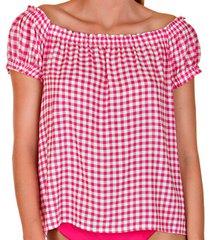 blouse lisca retro vichy cheek van rode top met korte mouwen