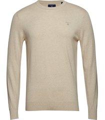 d1. cotton cashmere c-neck stickad tröja m. rund krage creme gant