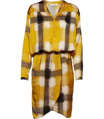 geometric wrapover short dress jurk knielengte geel rabens sal r