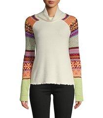 prism intarsia cowl turtleneck sweater