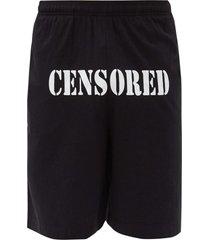 censored logo shorts