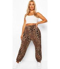 plus harem-broek met luipaardprint, bruin