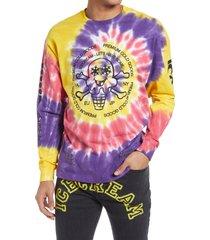 men's icecream men's cold goods tie dye long sleeve graphic tee, size medium - purple