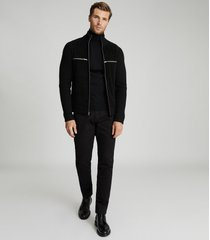 reiss axel - suede panel zip through top in black, mens, size xxl