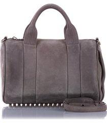 alexander wang rockie leather satchel gray sz: m