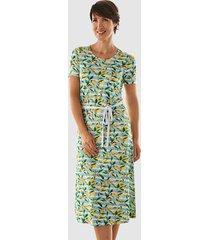 jersey jurk paola lichtblauw::geel::wit