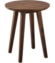 "walker edison 20"" acacia wood outdoor round side table"