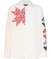 calvin klein 205w39nyc triangle embroidered cotton shirt - white