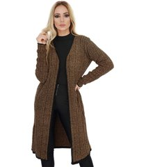 casaco longo sobretudo trico canelado mousse cobre livora