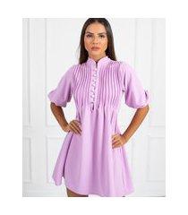 vestido miss misses rodado com botões lilás