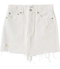moussy vintage women's mv ripliy frayed hem denim mini skirt - white - size 28 (4-6)