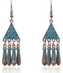 orecchini etnici blu oro antico geometrico orecchini nappe lega d'argento per le donne