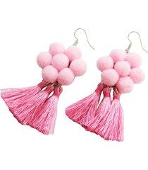 aretes rosa flor flecos y borlas aar-11380