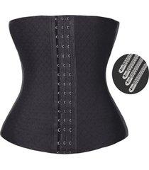 cinta de  modeladora preta 12 barbatanas microfibra  cintura fina  ks casual&sport - preto - feminino - dafiti
