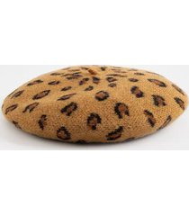 natalie leopard print baret hat - leopard