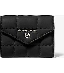 mk portafoglio medio a bustina in pelle trapuntata - nero (nero) - michael kors