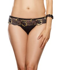 microfiber thong panty cross-dye lace size s-xl black/gold
