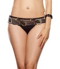 microfiber thong panty cross-dye lace size s-xl black/gold